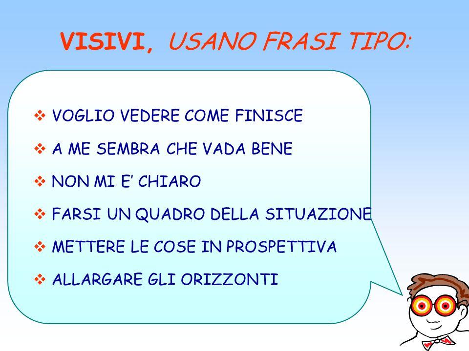 VISIVI, USANO FRASI TIPO: