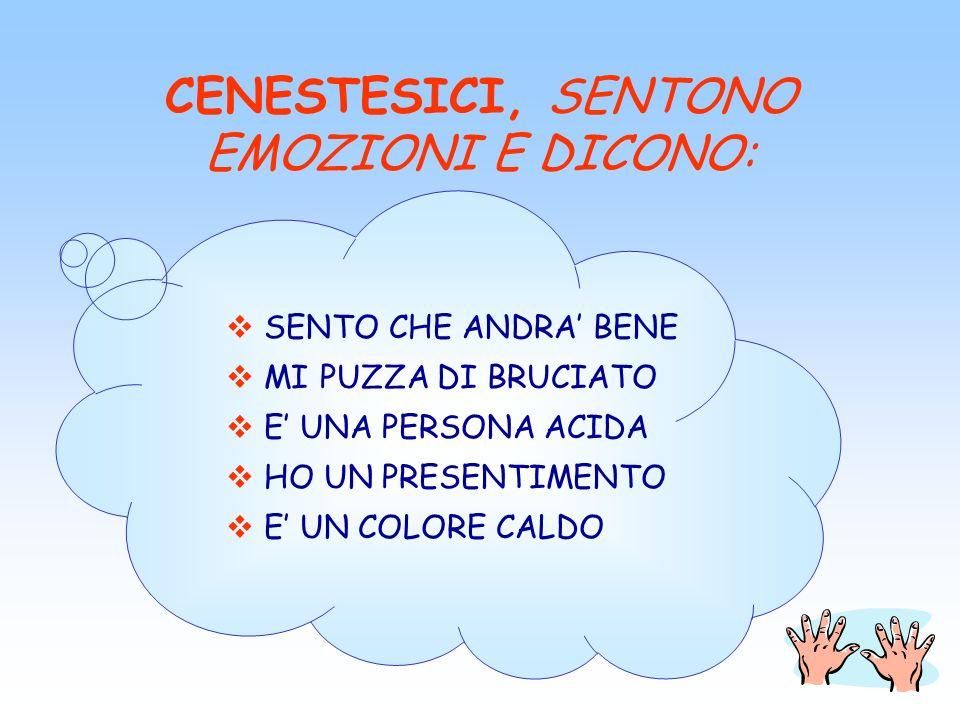 CENESTESICI, SENTONO EMOZIONI E DICONO: