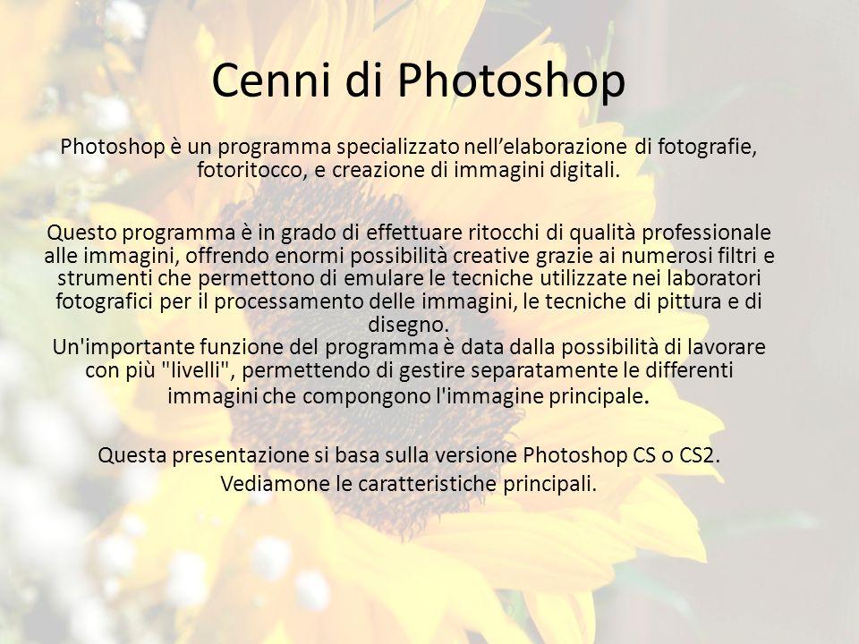 Cenni di Photoshop Photoshop è un programma specializzato nell'elaborazione di fotografie, fotoritocco, e creazione di immagini digitali.