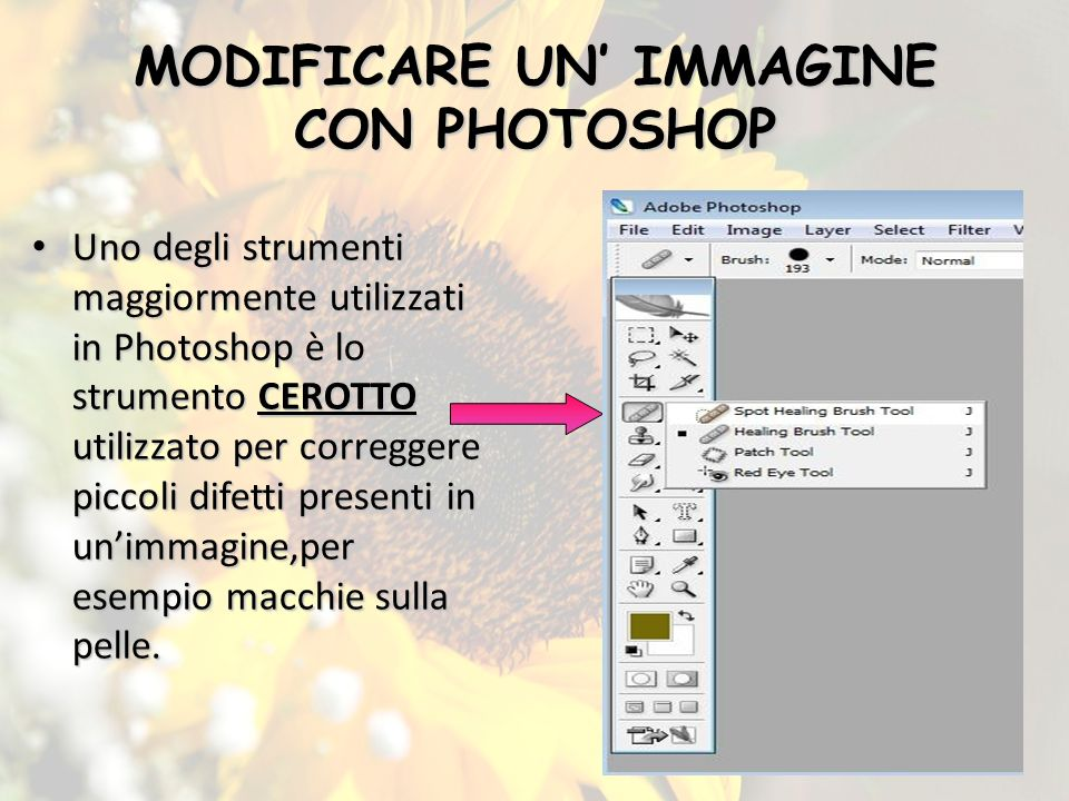 MODIFICARE UN' IMMAGINE CON PHOTOSHOP