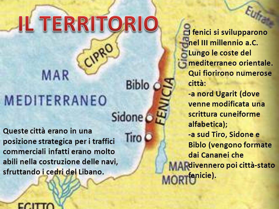 IL TERRITORIO I fenici si svilupparono nel III millennio a.C. Lungo le coste del mediterraneo orientale.