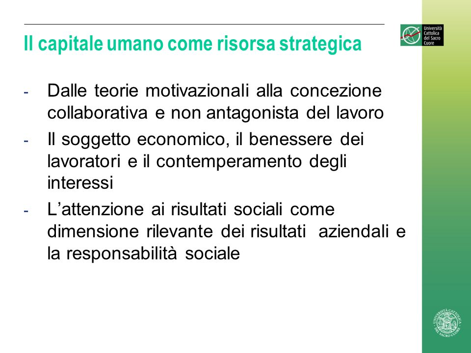 Il capitale umano come risorsa strategica