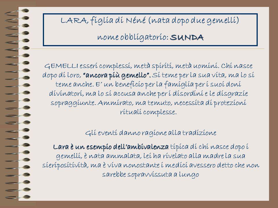 LARA, figlia di Néné (nata dopo due gemelli) nome obbligatorio: SUNDA
