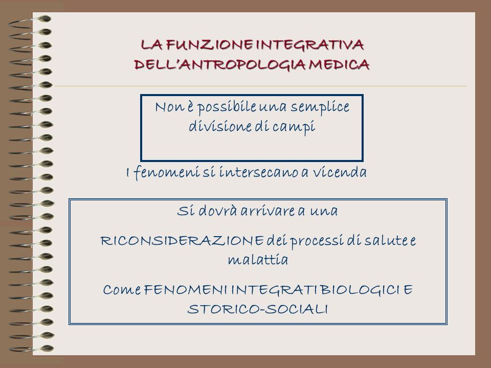 LA FUNZIONE INTEGRATIVA DELL'ANTROPOLOGIA MEDICA