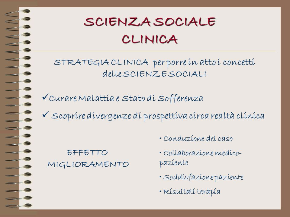 SCIENZA SOCIALE CLINICA