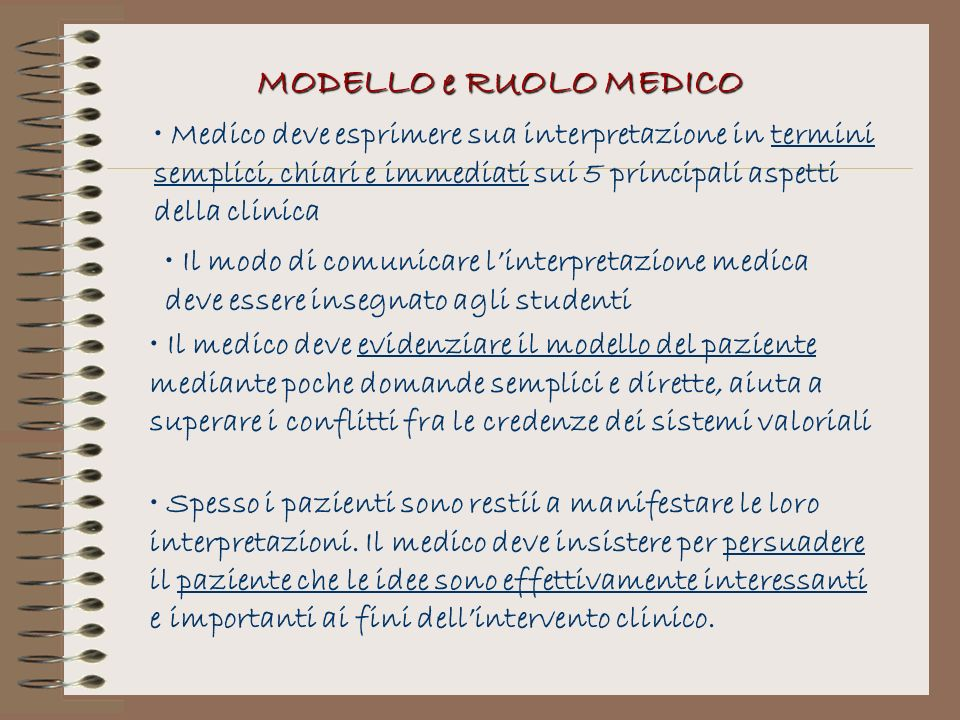 MODELLO e RUOLO MEDICO Medico deve esprimere sua interpretazione in termini semplici, chiari e immediati sui 5 principali aspetti della clinica.