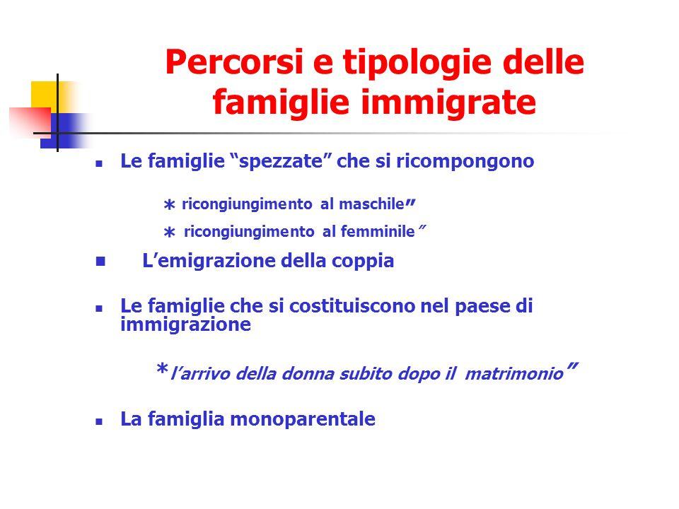 Percorsi e tipologie delle famiglie immigrate