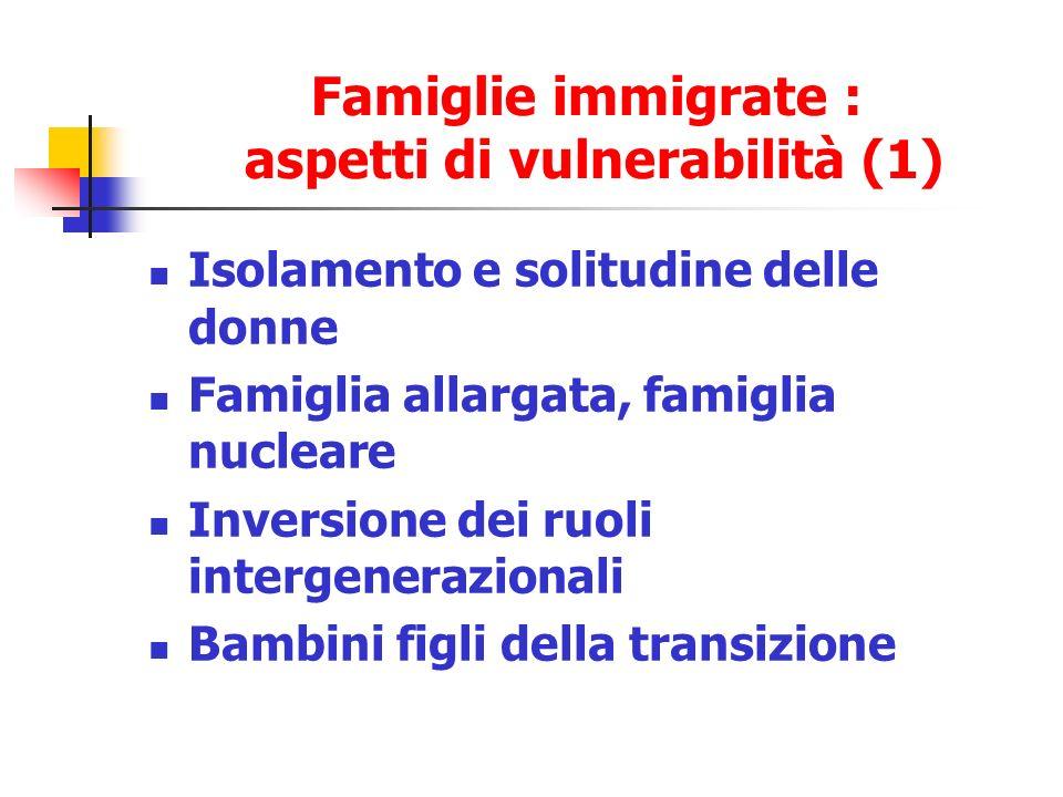 Famiglie immigrate : aspetti di vulnerabilità (1)