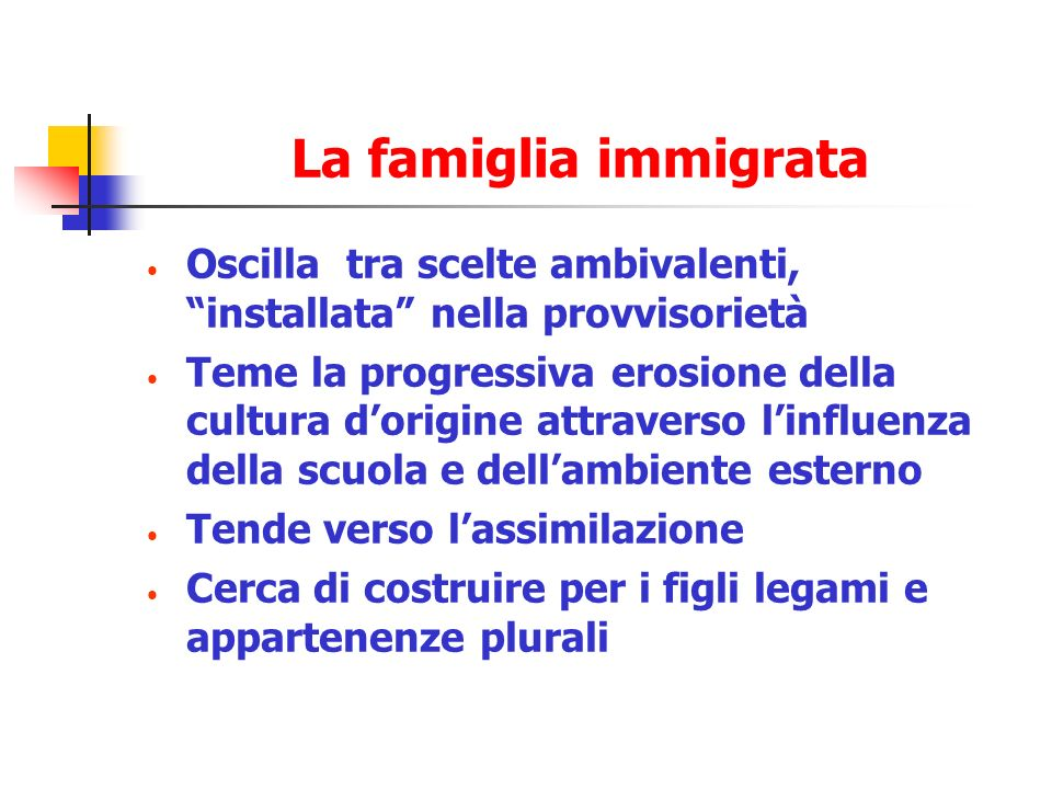 La famiglia immigrata Oscilla tra scelte ambivalenti, installata nella provvisorietà.