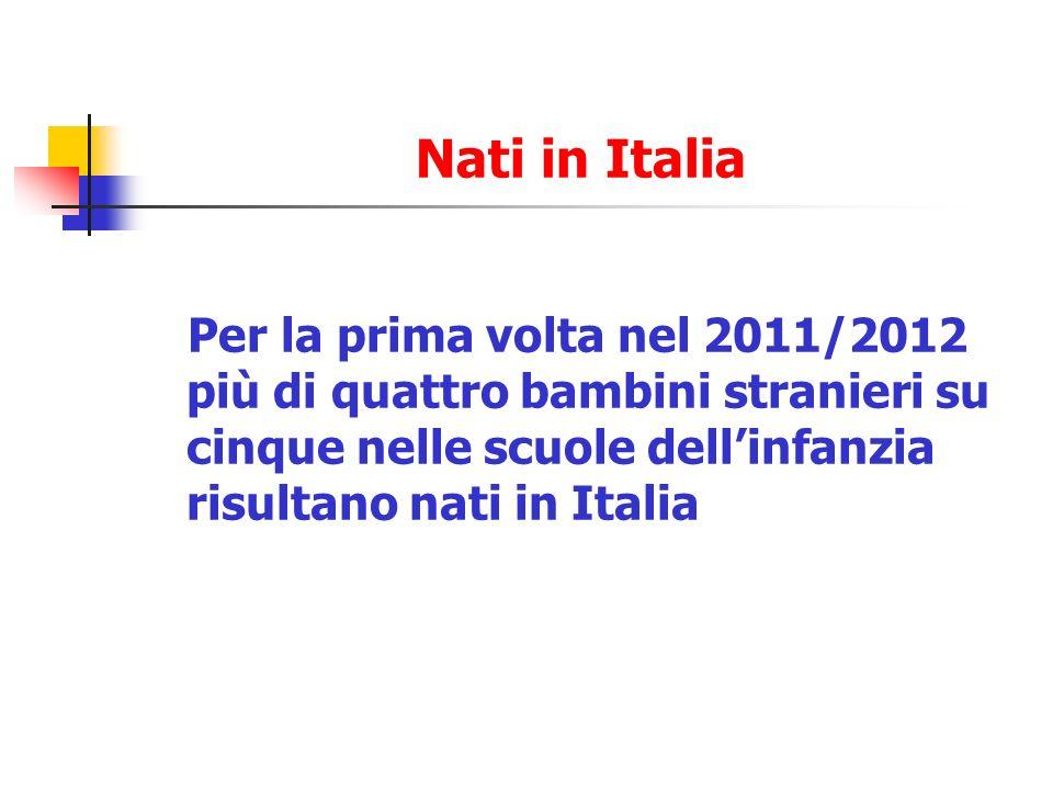 Nati in Italia Per la prima volta nel 2011/2012 più di quattro bambini stranieri su cinque nelle scuole dell'infanzia risultano nati in Italia.
