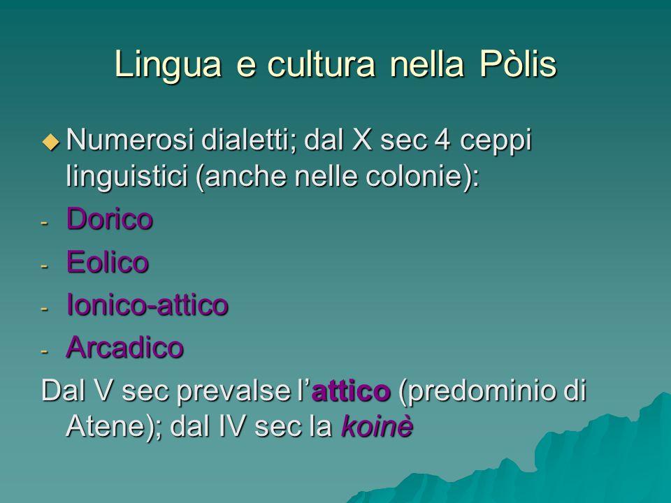 Lingua e cultura nella Pòlis