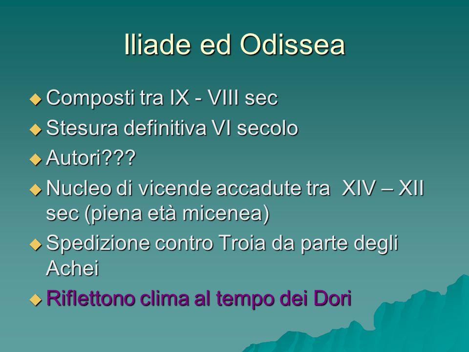 Iliade ed Odissea Composti tra IX - VIII sec