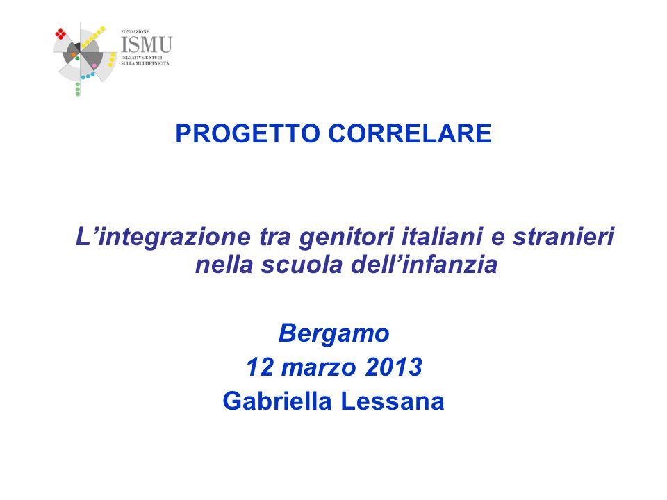 PROGETTO CORRELARE L'integrazione tra genitori italiani e stranieri nella scuola dell'infanzia. Bergamo.