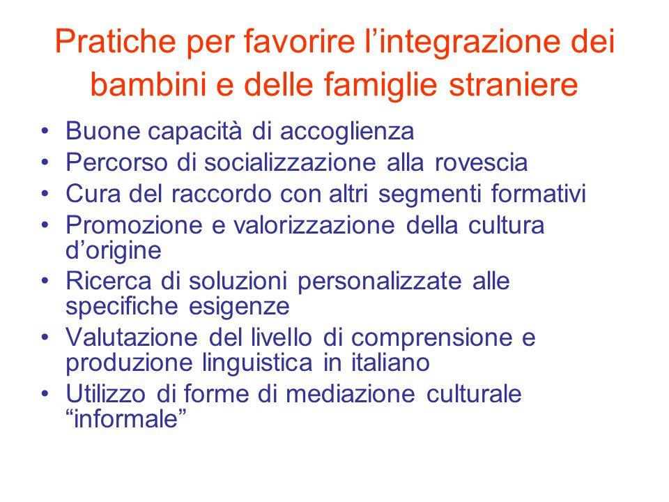 Pratiche per favorire l'integrazione dei bambini e delle famiglie straniere