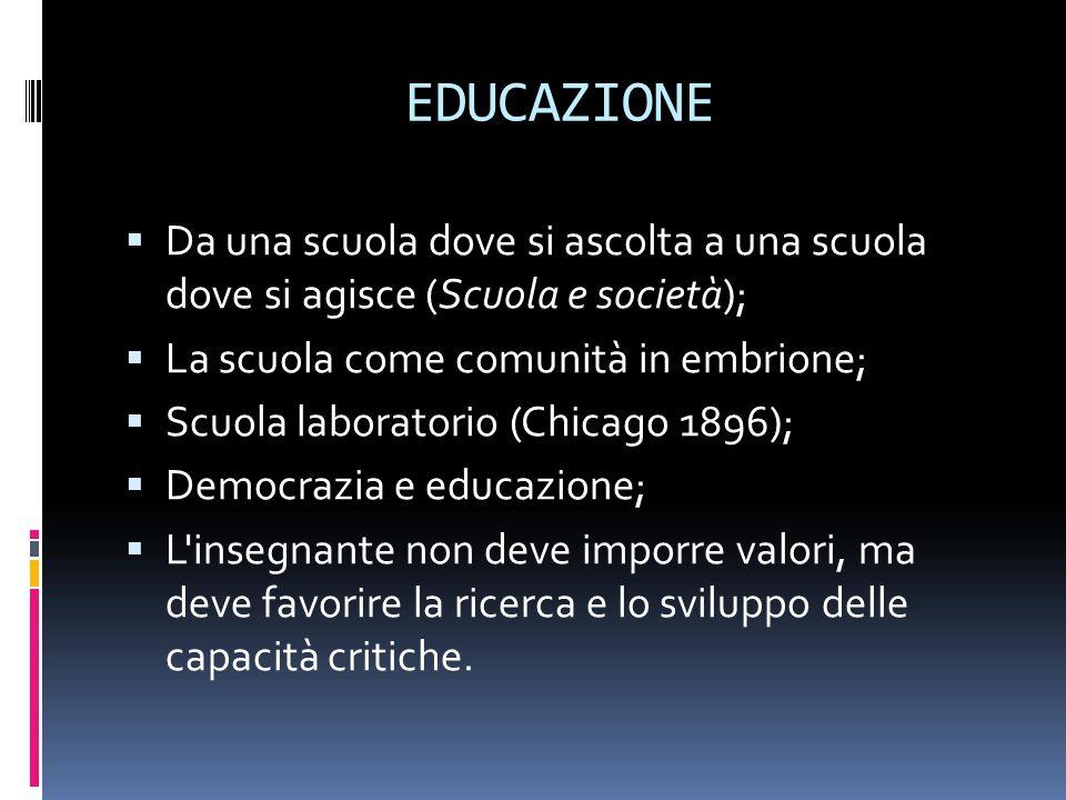 EDUCAZIONE Da una scuola dove si ascolta a una scuola dove si agisce (Scuola e società); La scuola come comunità in embrione;