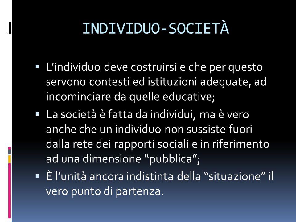 INDIVIDUO-SOCIETÀ L'individuo deve costruirsi e che per questo servono contesti ed istituzioni adeguate, ad incominciare da quelle educative;