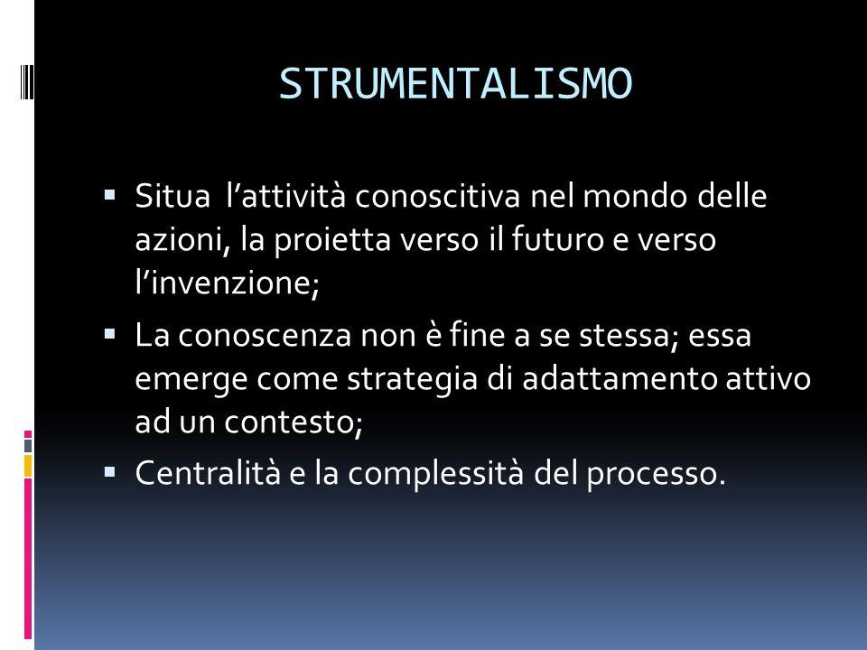 STRUMENTALISMO Situa l'attività conoscitiva nel mondo delle azioni, la proietta verso il futuro e verso l'invenzione;