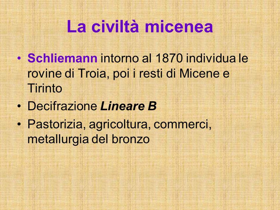 La civiltà micenea Schliemann intorno al 1870 individua le rovine di Troia, poi i resti di Micene e Tirinto.