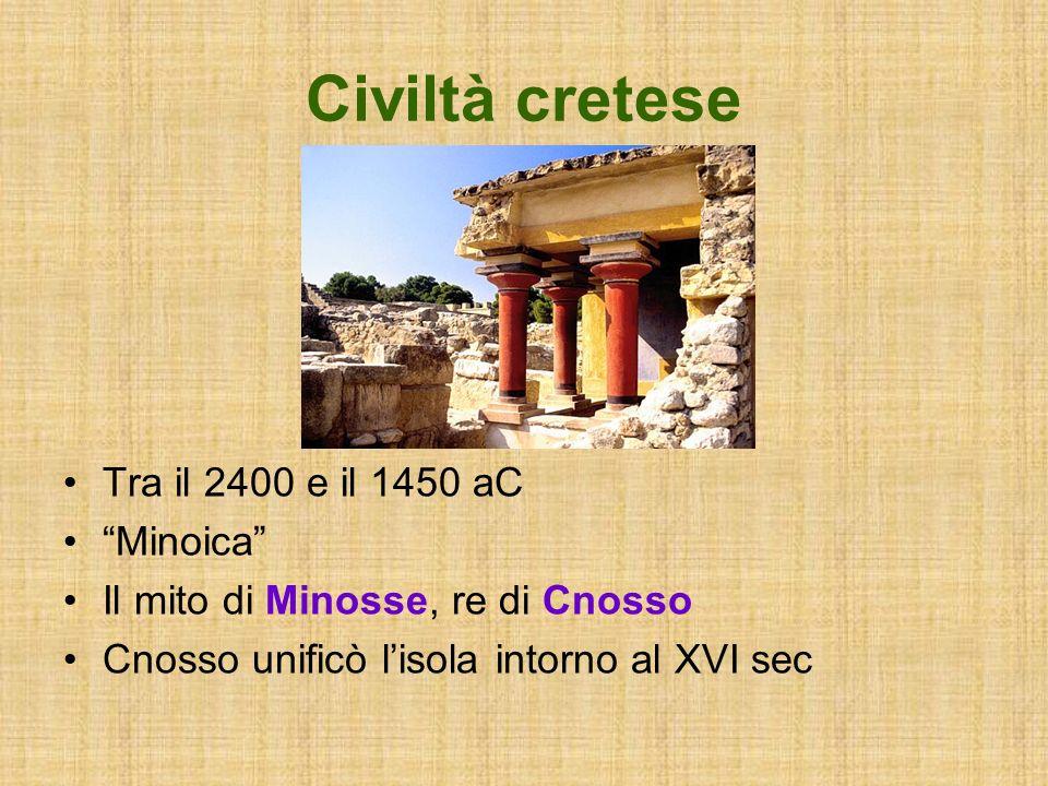 Civiltà cretese Tra il 2400 e il 1450 aC Minoica