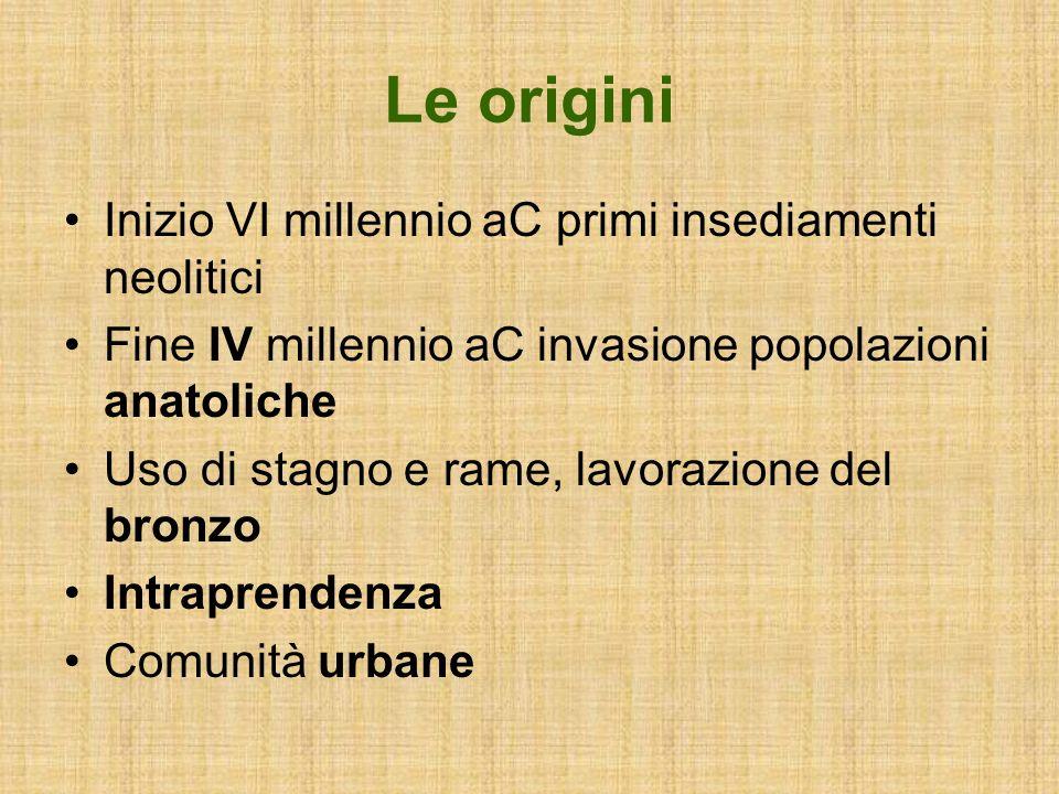 Le origini Inizio VI millennio aC primi insediamenti neolitici