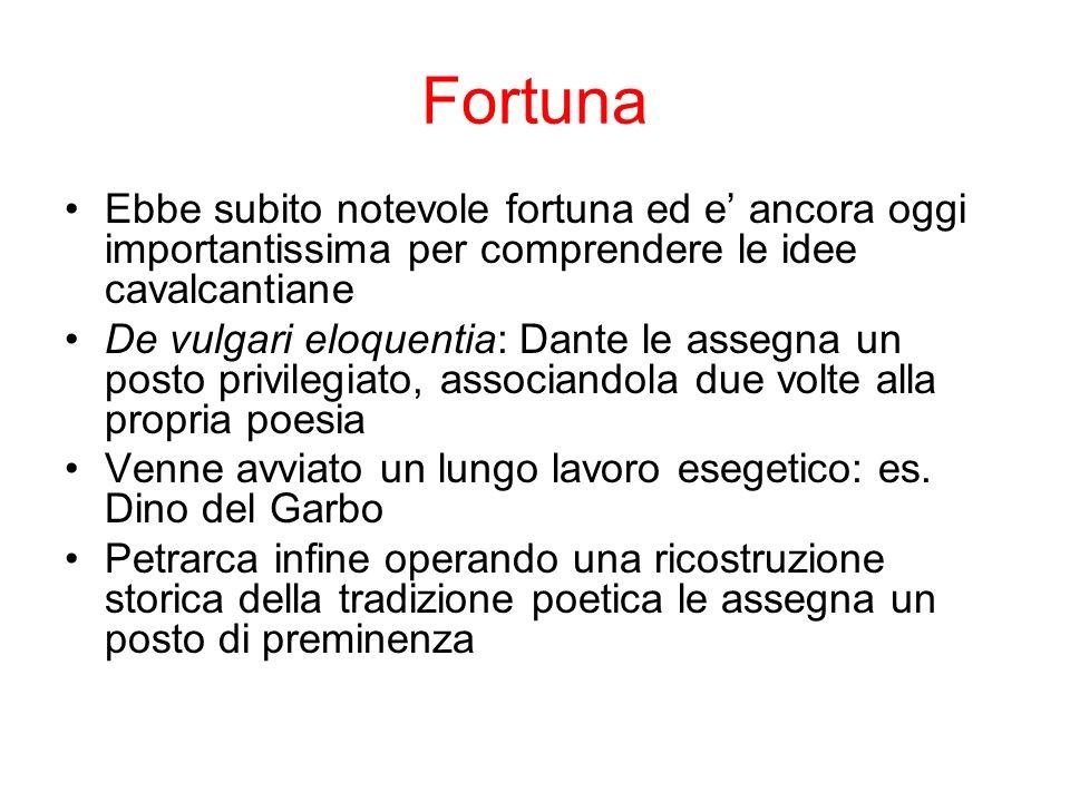 Fortuna Ebbe subito notevole fortuna ed e' ancora oggi importantissima per comprendere le idee cavalcantiane.