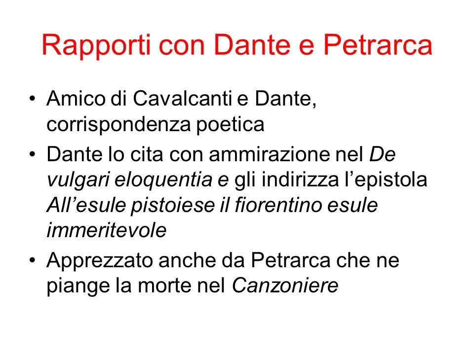 Rapporti con Dante e Petrarca