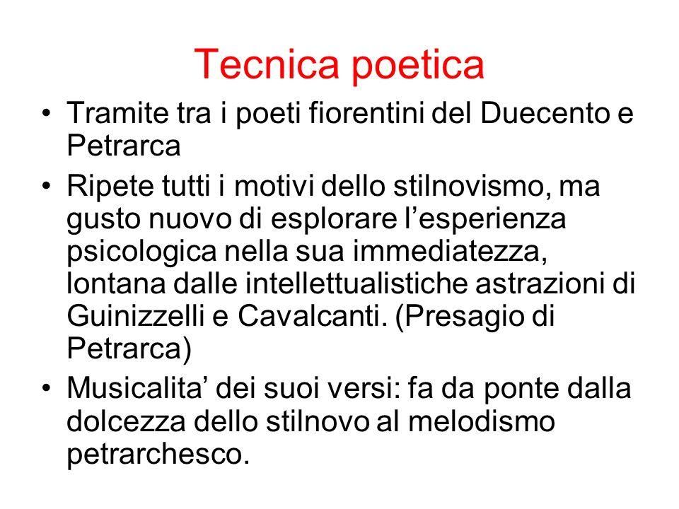 Tecnica poetica Tramite tra i poeti fiorentini del Duecento e Petrarca