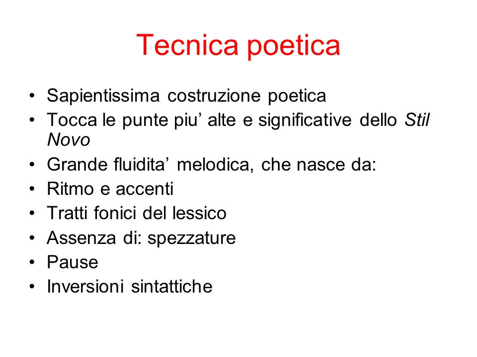 Tecnica poetica Sapientissima costruzione poetica