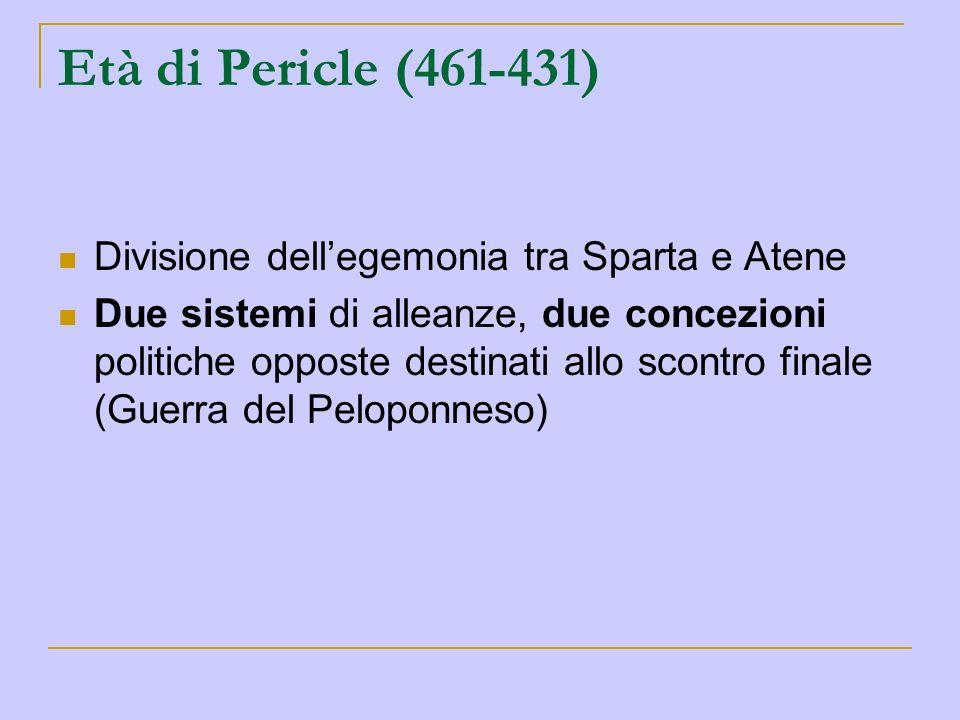 Età di Pericle (461-431) Divisione dell'egemonia tra Sparta e Atene