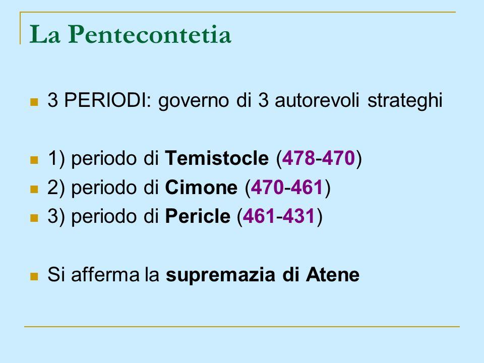 La Pentecontetia 3 PERIODI: governo di 3 autorevoli strateghi