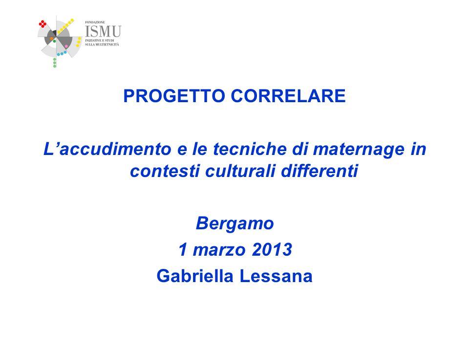 PROGETTO CORRELARE L'accudimento e le tecniche di maternage in contesti culturali differenti. Bergamo.