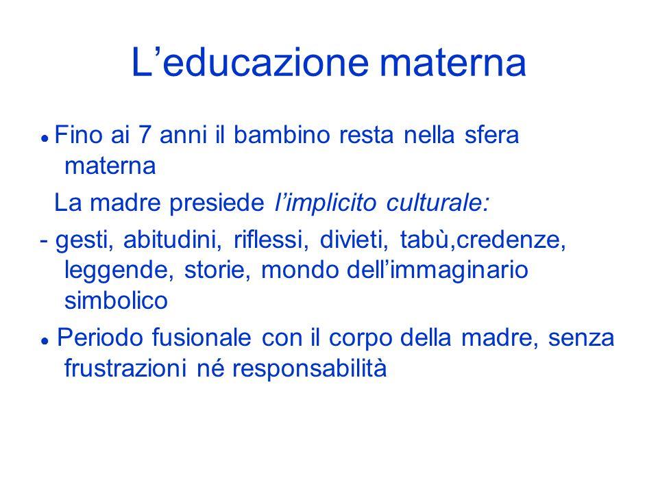 L'educazione materna La madre presiede l'implicito culturale: