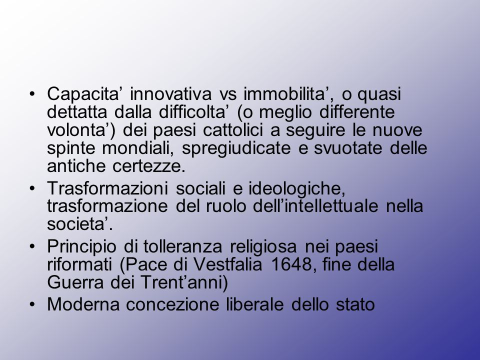 Capacita' innovativa vs immobilita', o quasi dettatta dalla difficolta' (o meglio differente volonta') dei paesi cattolici a seguire le nuove spinte mondiali, spregiudicate e svuotate delle antiche certezze.