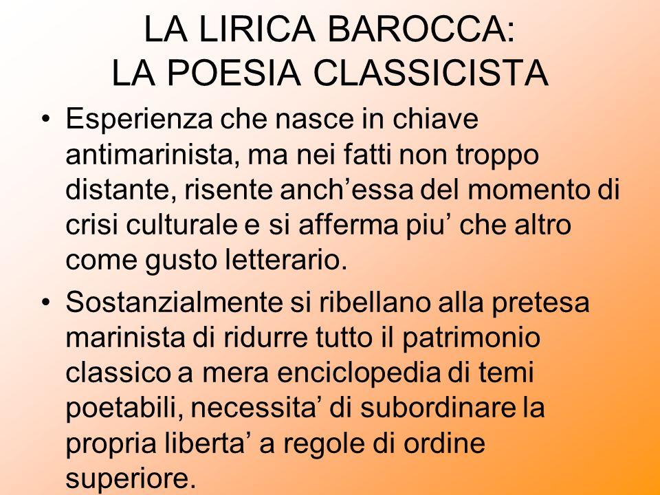 LA LIRICA BAROCCA: LA POESIA CLASSICISTA