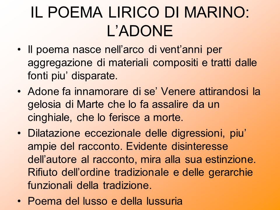 IL POEMA LIRICO DI MARINO: L'ADONE