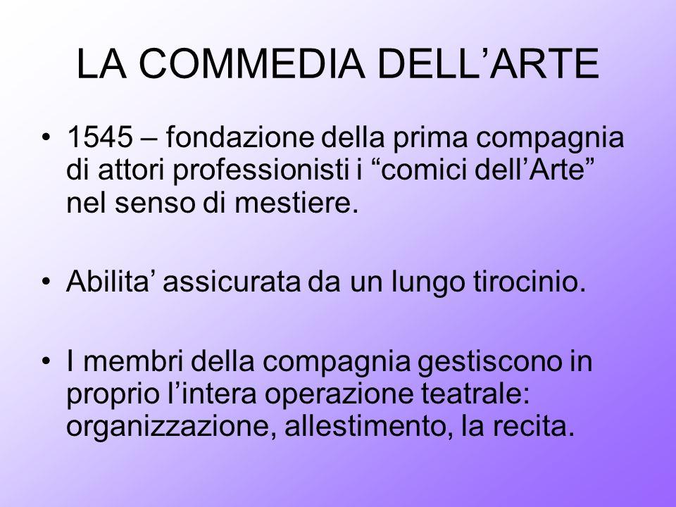 LA COMMEDIA DELL'ARTE 1545 – fondazione della prima compagnia di attori professionisti i comici dell'Arte nel senso di mestiere.