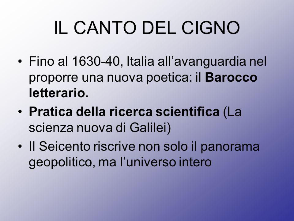 IL CANTO DEL CIGNO Fino al 1630-40, Italia all'avanguardia nel proporre una nuova poetica: il Barocco letterario.
