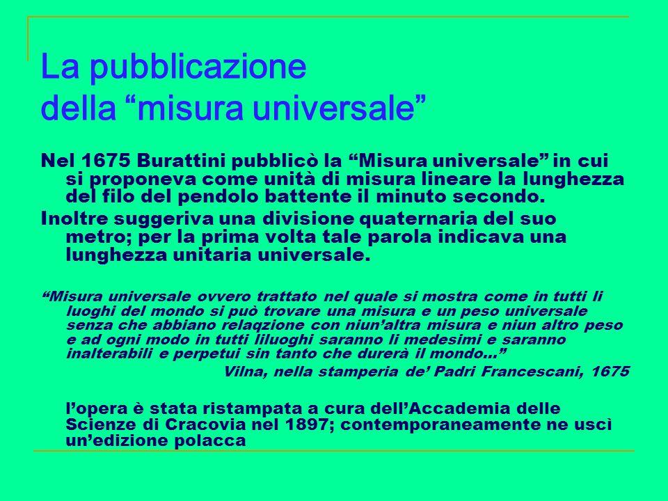 La pubblicazione della misura universale
