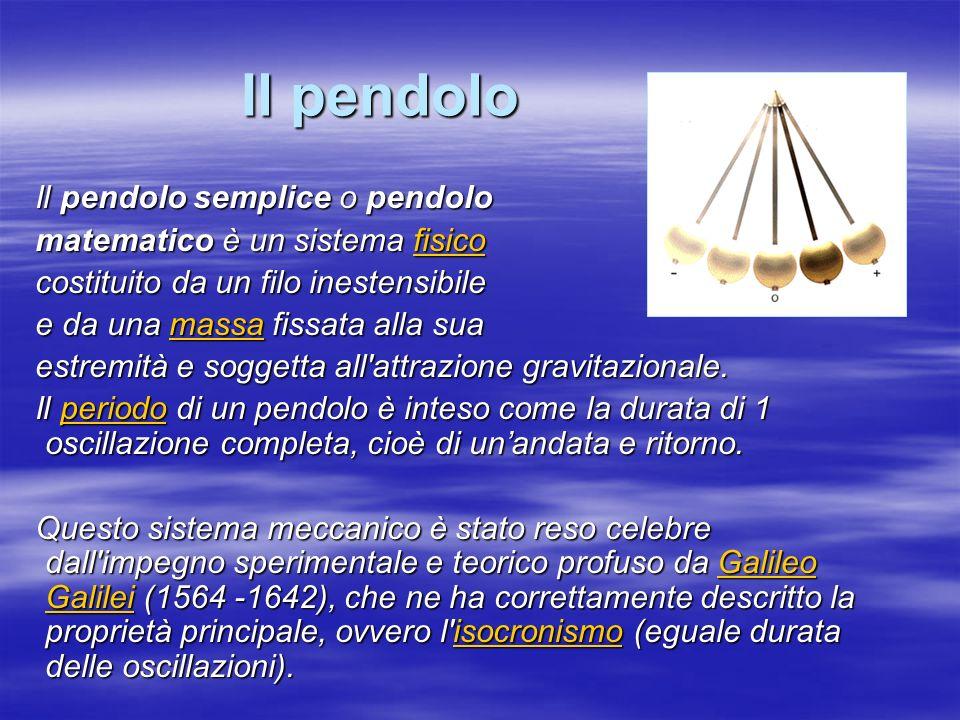 Il pendolo Il pendolo semplice o pendolo