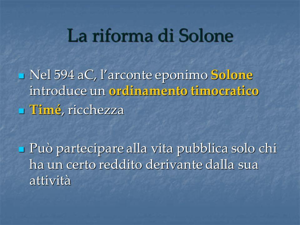 La riforma di Solone Nel 594 aC, l'arconte eponimo Solone introduce un ordinamento timocratico. Timé, ricchezza.