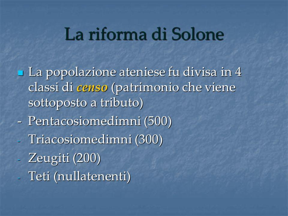 La riforma di Solone La popolazione ateniese fu divisa in 4 classi di censo (patrimonio che viene sottoposto a tributo)
