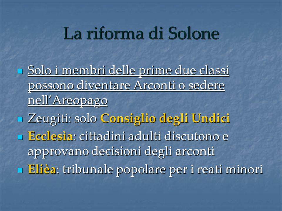 La riforma di Solone Solo i membri delle prime due classi possono diventare Arconti o sedere nell'Areopago.