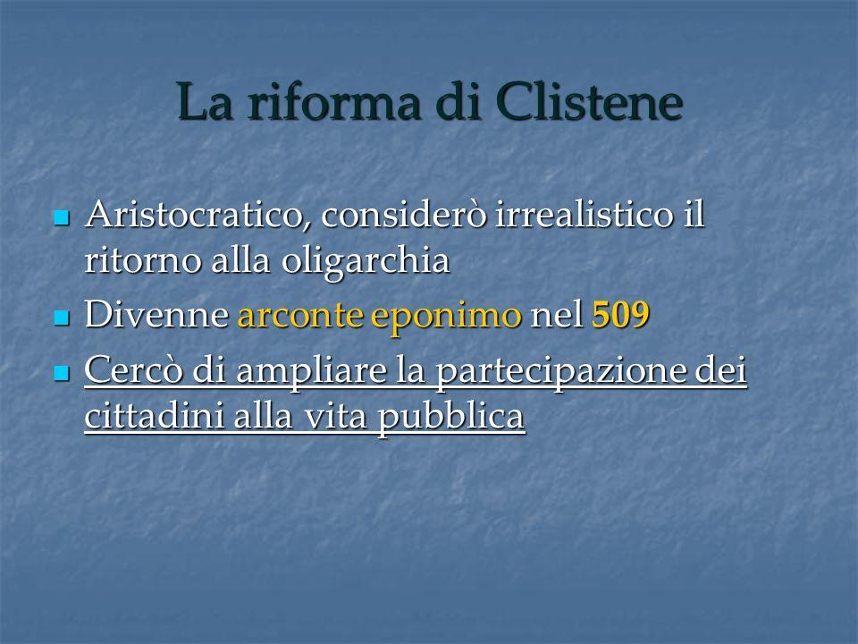 La riforma di Clistene Aristocratico, considerò irrealistico il ritorno alla oligarchia. Divenne arconte eponimo nel 509.