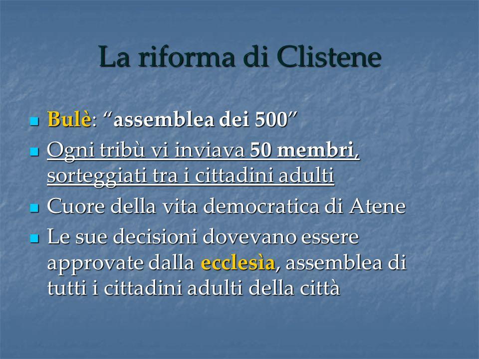La riforma di Clistene Bulè: assemblea dei 500