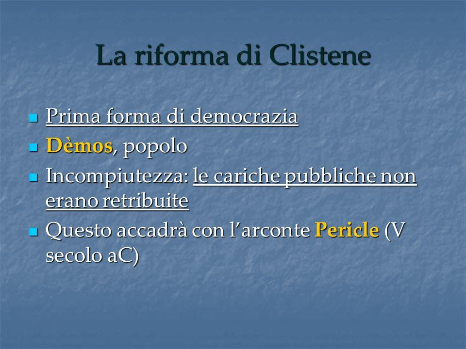 La riforma di Clistene Prima forma di democrazia Dèmos, popolo