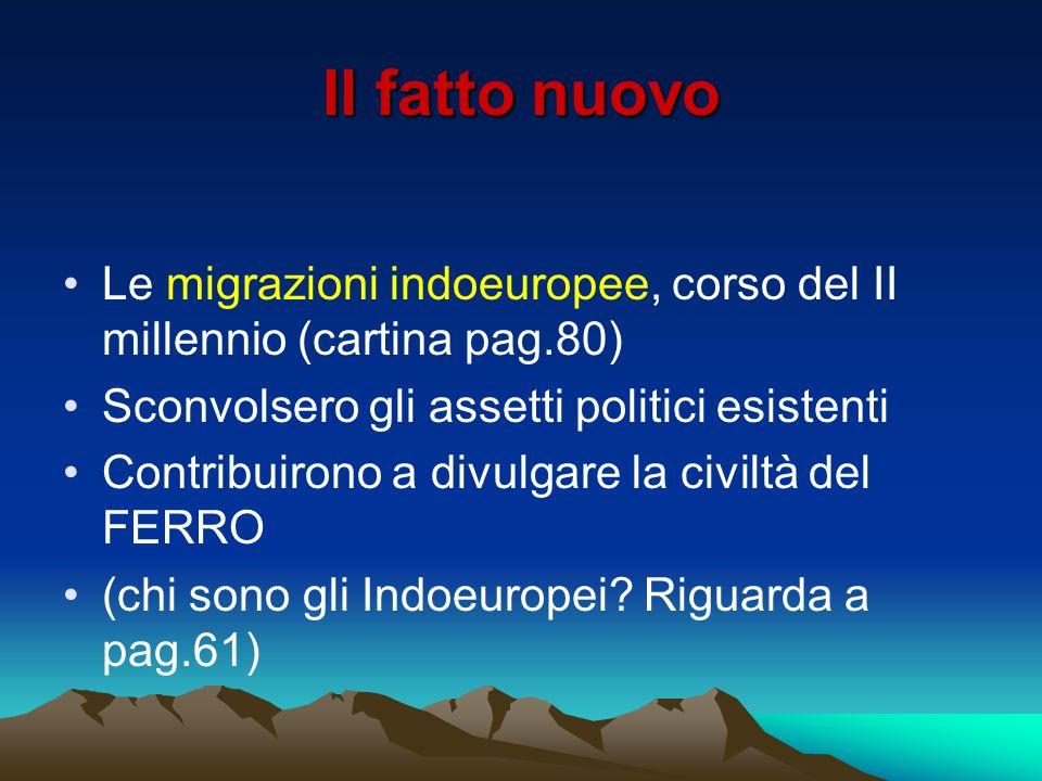 Il fatto nuovo Le migrazioni indoeuropee, corso del II millennio (cartina pag.80) Sconvolsero gli assetti politici esistenti.