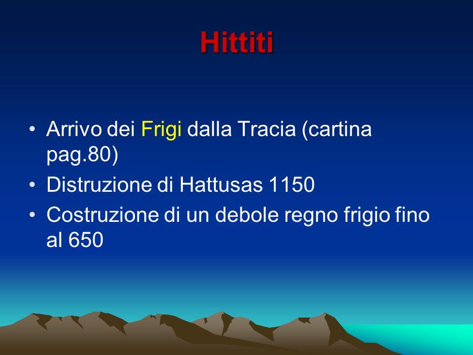 Hittiti Arrivo dei Frigi dalla Tracia (cartina pag.80)