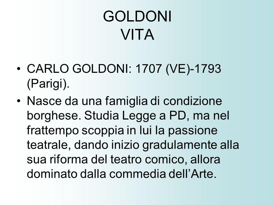 GOLDONI VITA CARLO GOLDONI: 1707 (VE)-1793 (Parigi).