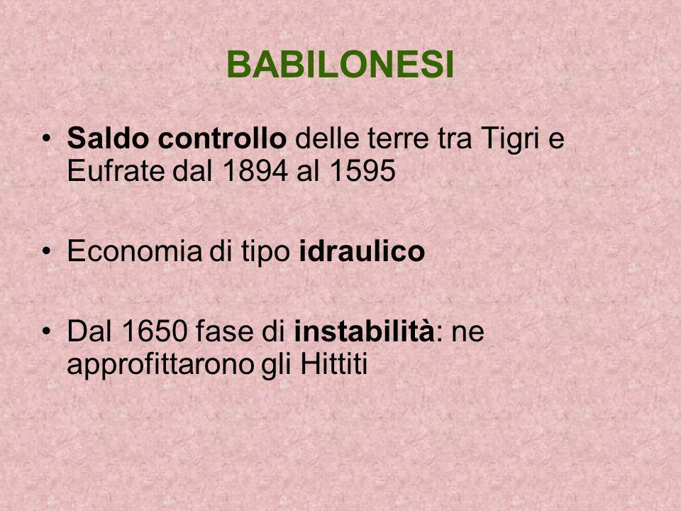 BABILONESISaldo controllo delle terre tra Tigri e Eufrate dal 1894 al 1595. Economia di tipo idraulico.