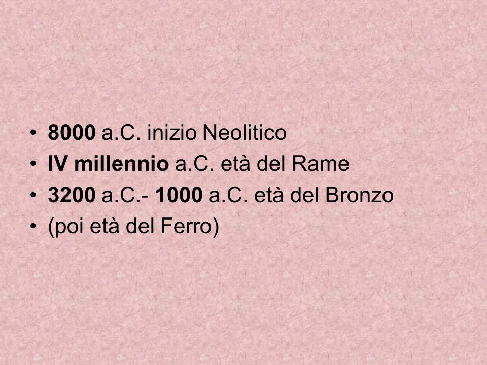 8000 a.C. inizio Neolitico IV millennio a.C. età del Rame.